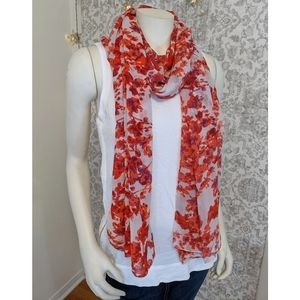 Cream, red, pink silky watercolor floral scarf